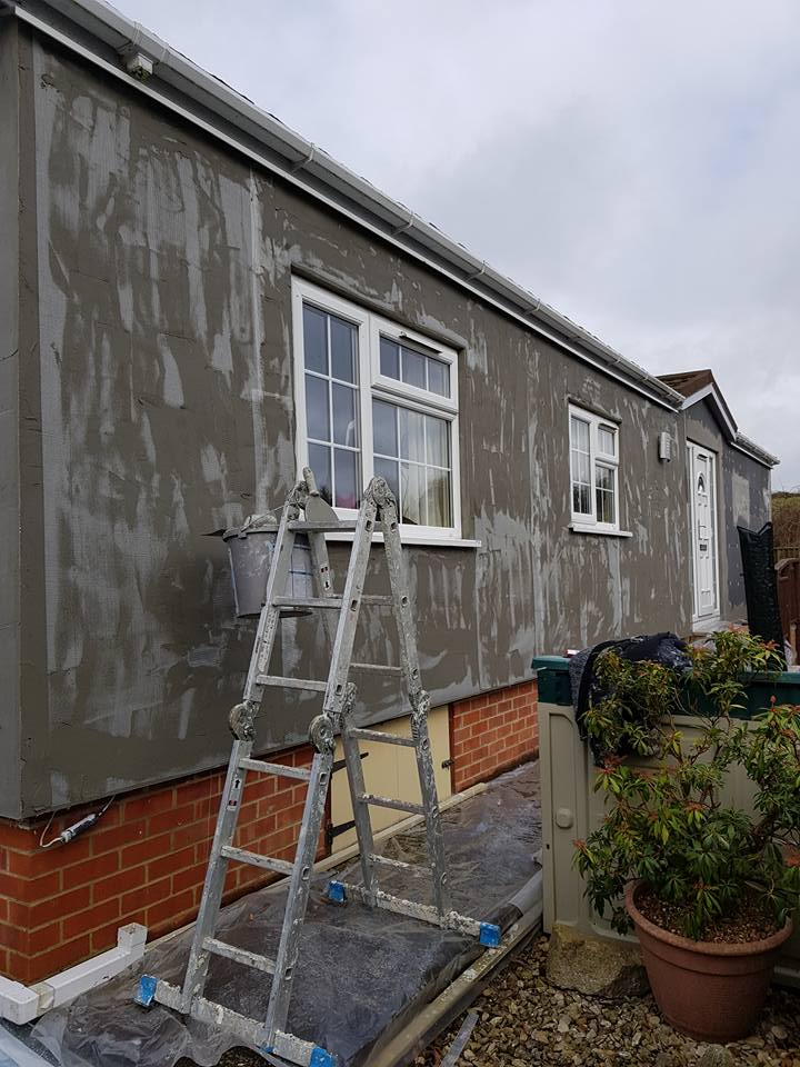 External wall insulation rendered