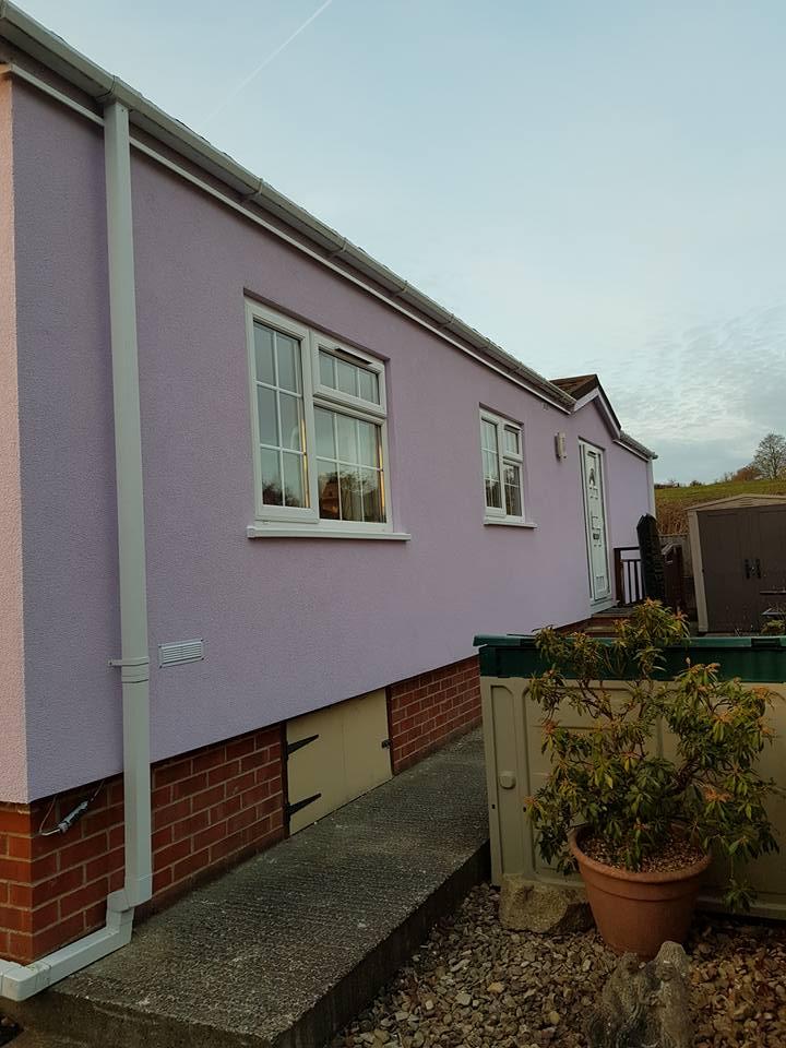 Pink park home External Wall Insulation