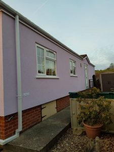 Pink park home External Wall Insulation
